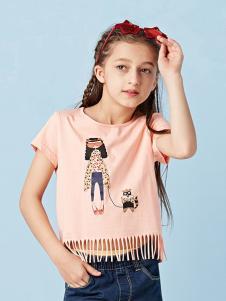 的纯童装时尚新品粉色女童T