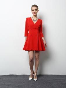 2018春夏装女装v领红色连衣裙