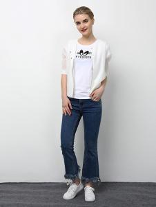 2018春夏装女装白色雪纺T恤