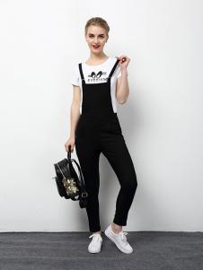2018春夏装女装黑色背带裤