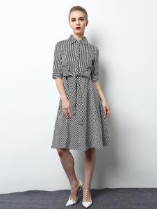 2018春夏装女装条纹衬衫连衣裙