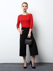 2018春夏装女装红色T恤