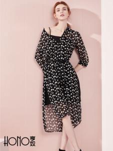 亨奴女装新款波点连衣裙