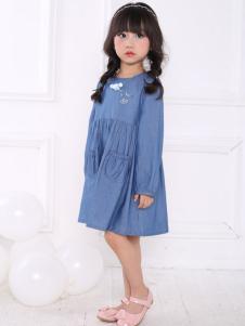 皇后婴儿女童蓝色韩版连衣裙