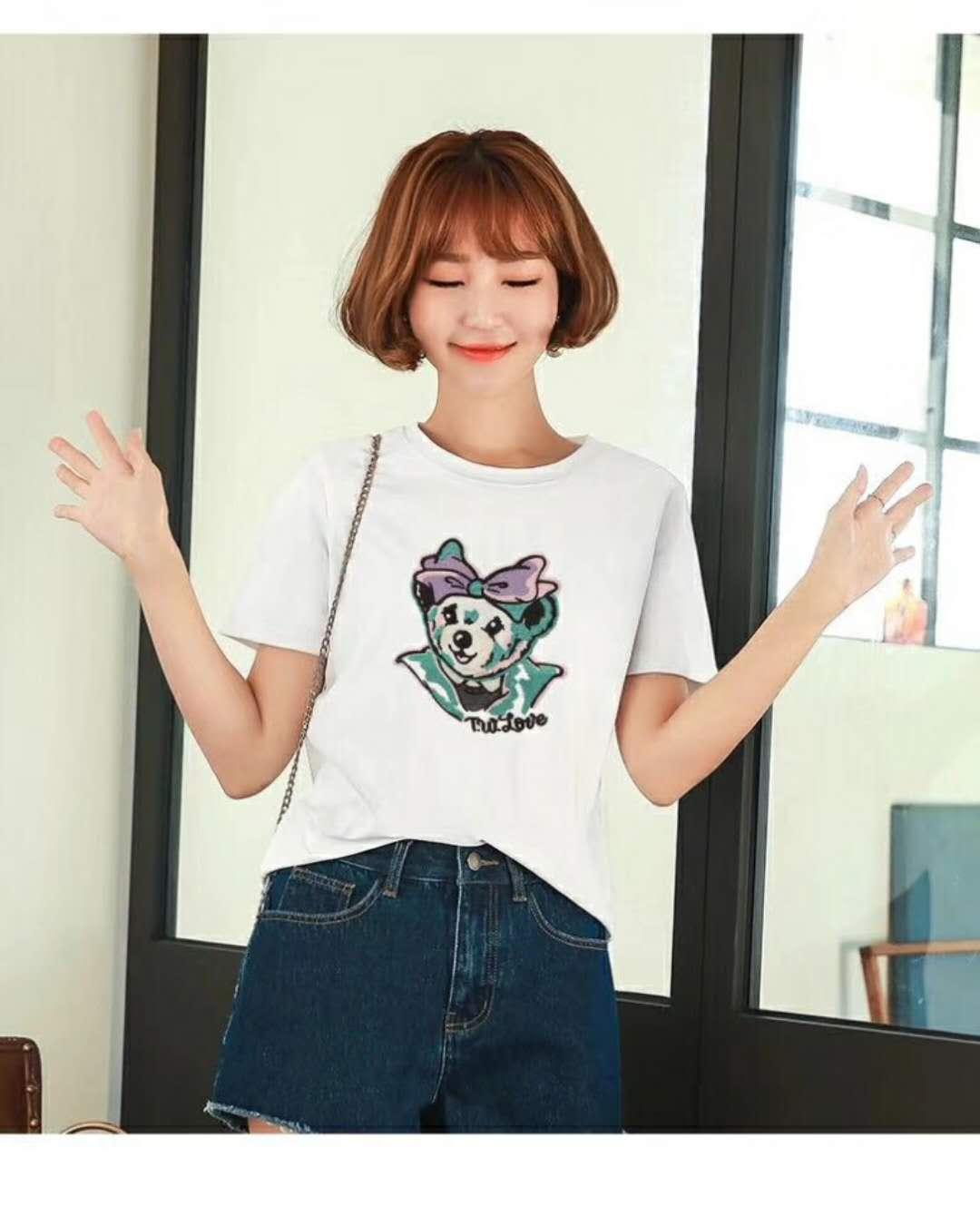 维尼纯棉T恤夏装品牌折扣女装批发找广州明浩货源
