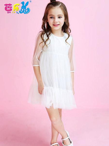 芭乐兔女童白色连衣裙18新款