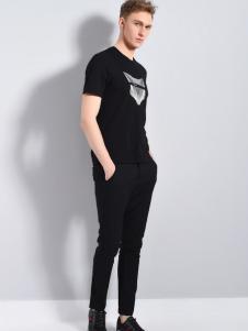 UNKUT恩咖男装18夏款黑色T恤