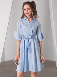 TT夏装衬衫系带连衣裙