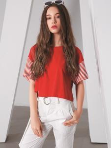 TT夏装红色宽松T恤