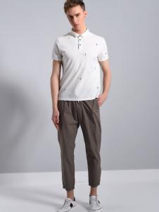 恩咖男装白色商务休闲POLO衫