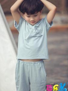芭乐兔童装男童棉麻简约套装