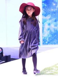 安拉拉童装紫色条纹连衣裙