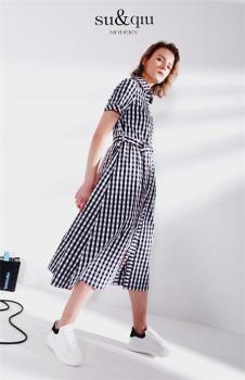 SUQIU诉求2018新品格纹连衣裙
