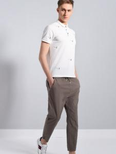 UNKUT恩咖男装白色简约POLO衫