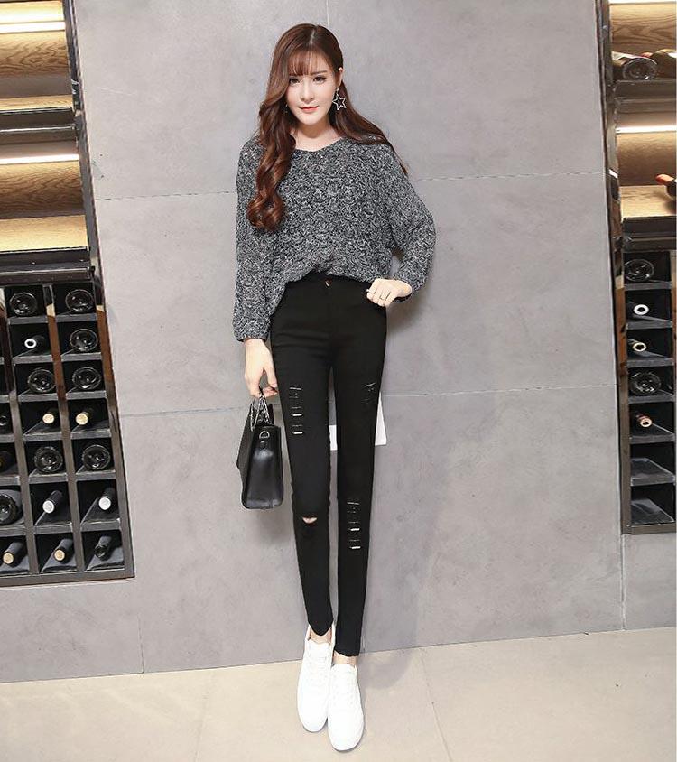 新款韩版女装个性百搭牛仔长裤批发