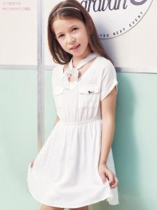 杰米熊女童装18白色连衣裙