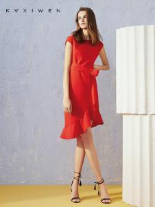 佧茜文女装18红色连衣裙