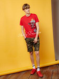 爱迪丹顿春夏新款红色T恤