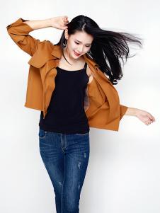芝仪女装韩版修身中长款糖果色西装