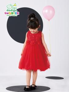 嗒嘀嗒夏装新款红色连衣裙