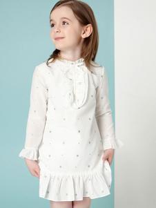 顽皮维尼童装白色立领荷叶边女裙