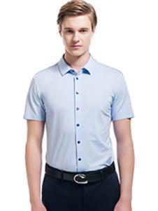 微奢零度男装蓝色短袖衬衫