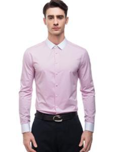 微奢零度男装粉色摩登衬衫