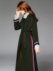 曼柏优妮新款深绿色呢子大衣