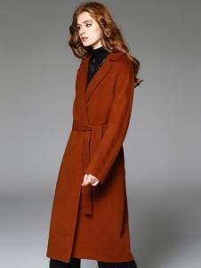 曼柏优妮新款焦糖色呢子大衣