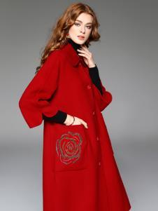 曼柏优妮新款红色呢子大衣
