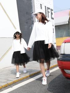 卡儿菲特黑色蕾丝裙亲子装