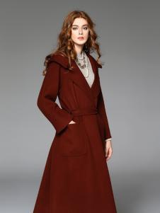 曼柏优妮绛红色呢子大衣