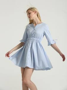 布伦圣丝新款蓝色修身连衣裙