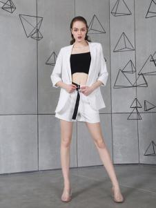 欧玥新款欧式正装条纹短裤西装套装