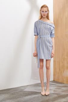 2018夏装女装斜肩连衣裙