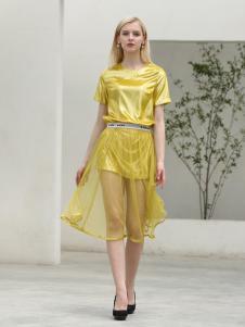 布伦圣丝BLSS新款黄色连衣裙