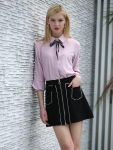 布伦圣丝新款时尚气质黑色半裙