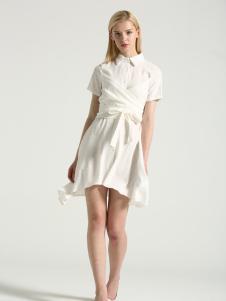 布伦圣丝新款白色气质优雅连衣裙