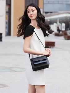鲁遇女装新品黑白连衣裙系列