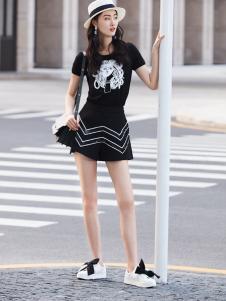 鲁遇女装新品黑色休闲系列
