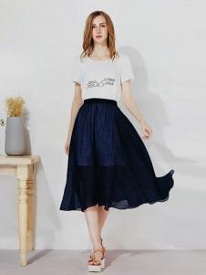 U-REETY女装长款字母T恤套装裙