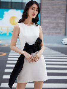 鲁遇女装新品白色时尚连衣裙
