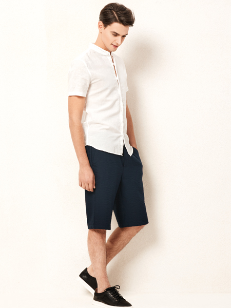 杉杉男装18新款短袖衬衫