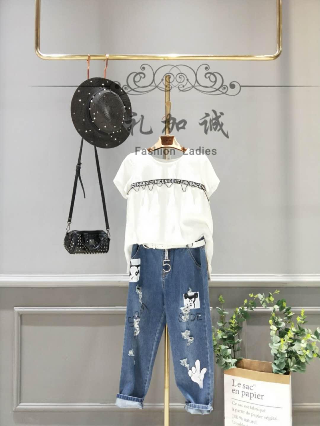 特价品牌女装折扣牛仔裤供应