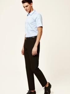 杉杉男装浅蓝色短袖18新款