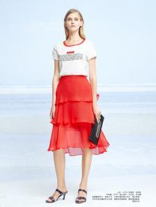 迪笛欧夏装新款橙红色连衣裙