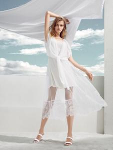迪笛欧夏装新款白色连衣裙