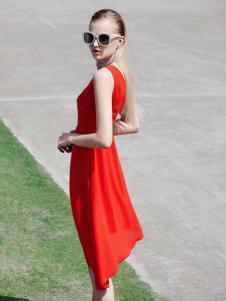 丹比奴新款雪纺红色连衣裙