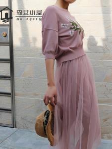 森女小屋新款粉色网纱裙