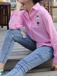 森女小屋新款粉色衬衫